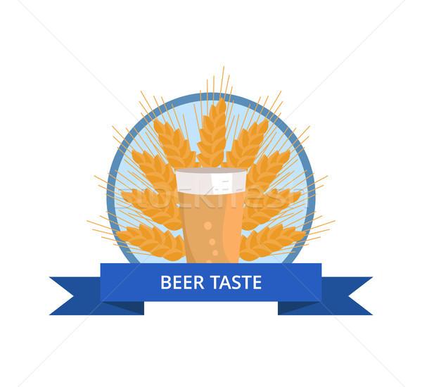 Beer Taste Logo Pint of Dark Beverage Ear of Wheat Stock photo © robuart
