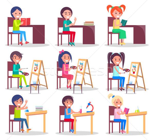 Children Do Homework Isolated Illustrations Set Stock photo © robuart
