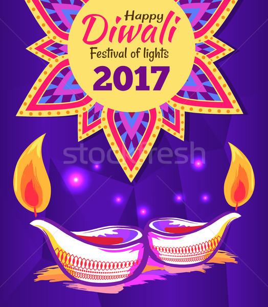 Stock photo: Happy Diwali Festival of Lights 2017 Poster Vector