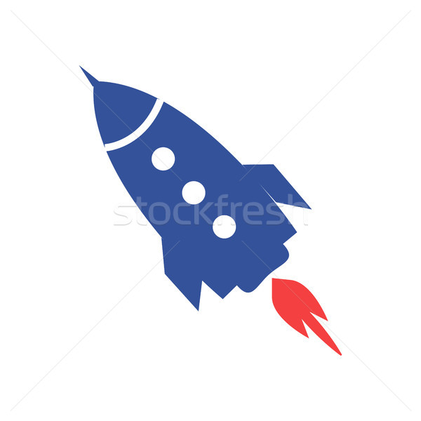 Blue Rocket Icon Isolated Illustration on White Stock photo © robuart