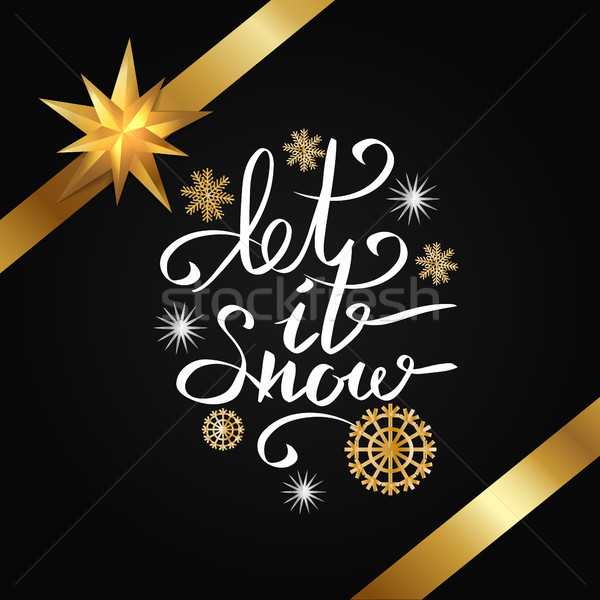 Let It Snow Ribbons Snowlakes Vector Illustration Stock photo © robuart