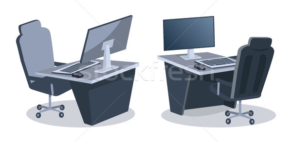 Two Desks With Computers Vector Illustration Stock photo © robuart