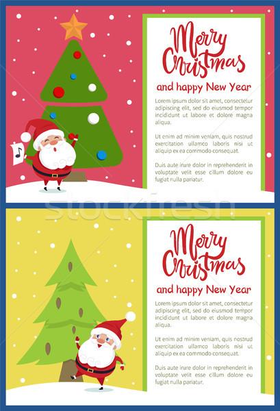 Merry Christmas Happy New Year Poster Santa Tree Stock photo © robuart