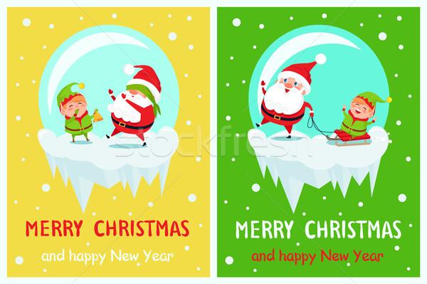 Stockfoto: Vrolijk · christmas · gelukkig · nieuwjaar · groet · kaarten · wenskaart