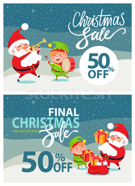 Final Christmas Sale Poster Vector Illustration Stock photo © robuart