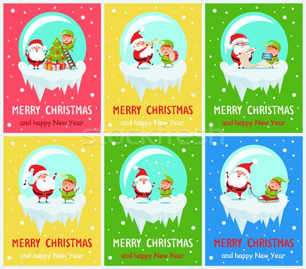 Merry Chritmas Santa Life Vector Illustration Stock photo © robuart