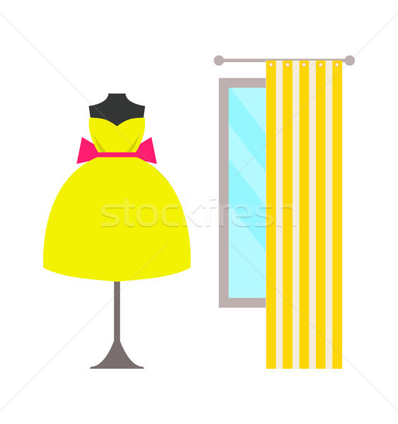 Mannequin in Lush Dress with Bow Near Large Window Stock photo © robuart