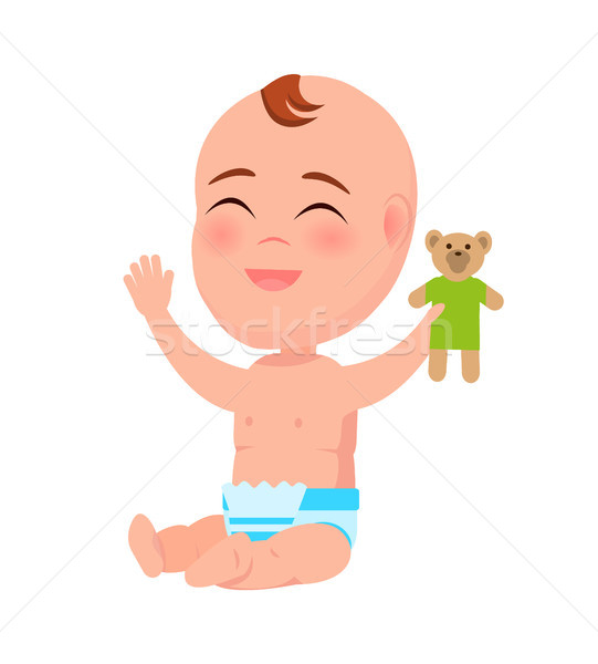Stock photo: Happy Smiling Infant with Teddy Toy in Hand Laugh