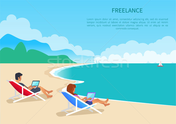 Freelance Young Man and Woman Lying in Loungers Stock photo © robuart