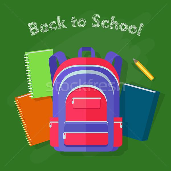 Terug naar school violet rugzak Rood lijnen vier Stockfoto © robuart