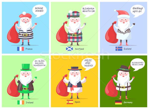 France Scotland Santa Clauses Vector Illustration Stock photo © robuart