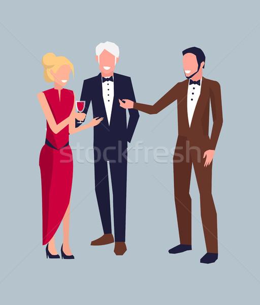 Company of Three at Party Vector Illustration Stock photo © robuart