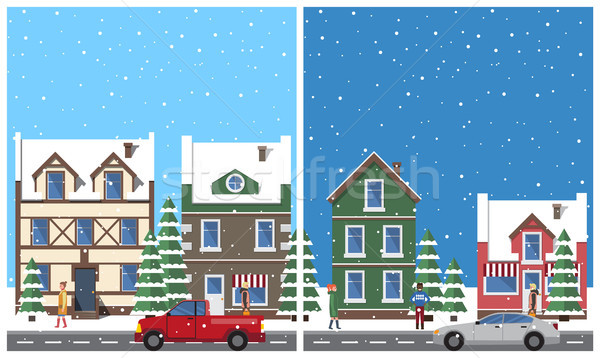Stock photo: Winter in City Placards Set Vector Illustration