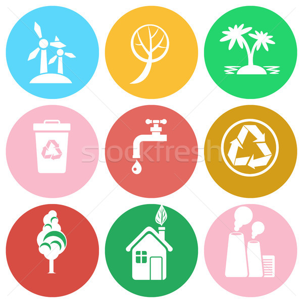 Ecology Protection Isolated Round Icons Collection Stock photo © robuart