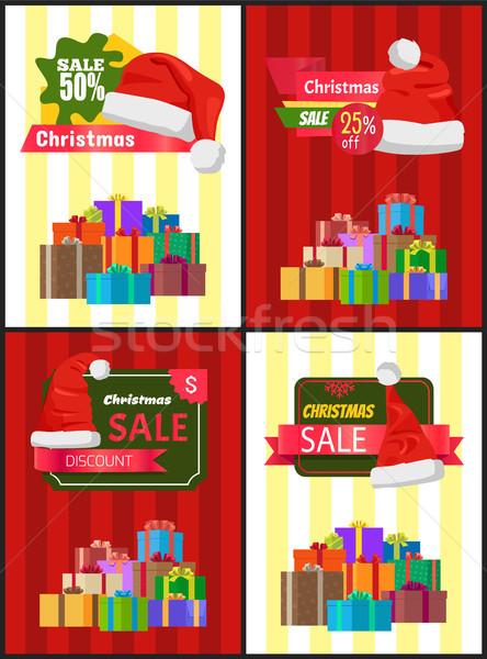Natal venda cartaz apresentar promo etiqueta Foto stock © robuart