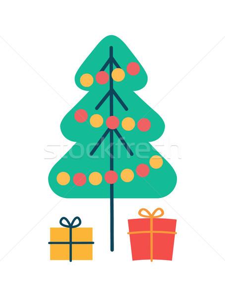 Рождества сосна подарки вечнозеленый завода украшенный Сток-фото © robuart