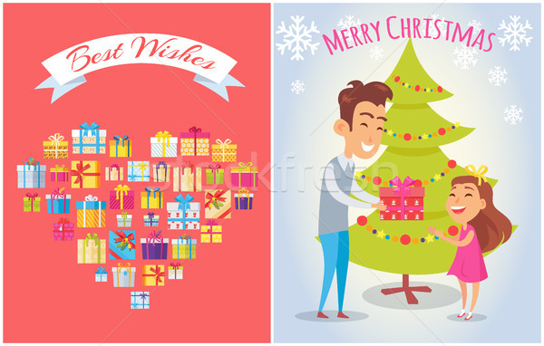 Best Wishes on Merry Christmas Vector Illustration Stock photo © robuart