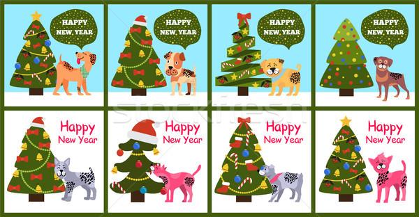 Cartoon Dogs Symbol of 2018 Wishes Happy New Year Stock photo © robuart