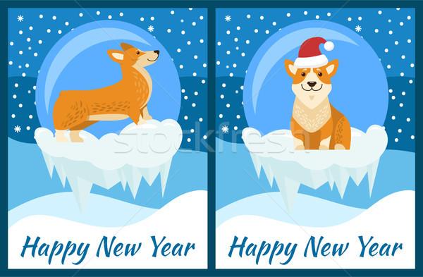 Feliz año nuevo felicitación jugando azul nevadas cute Foto stock © robuart