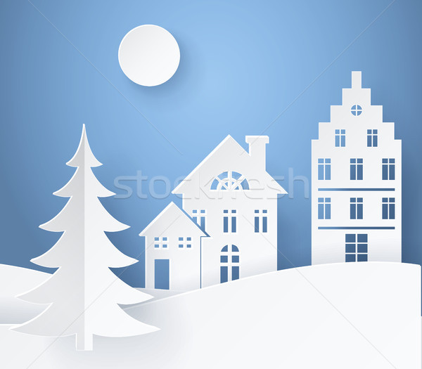 Stock photo: Winter Landscape Paper Card Vector Illustration