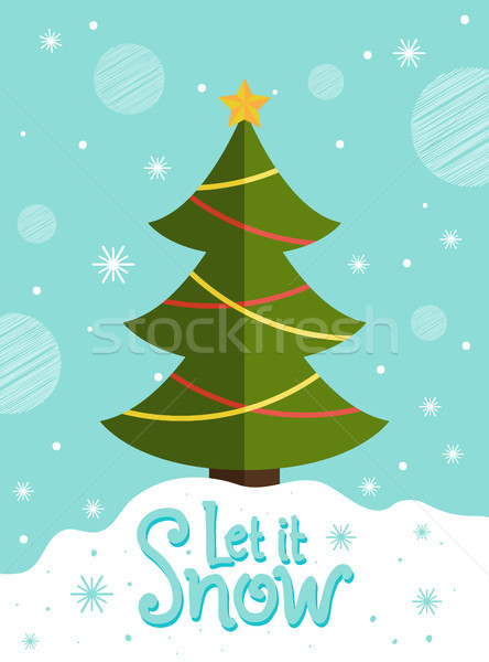 Let it Snow Postcard New Year Tree Greeting Card Stock photo © robuart