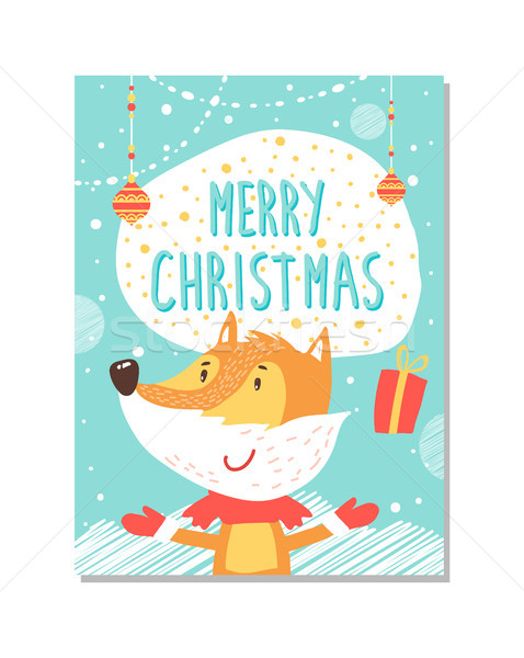 Merry Christmas Greeting Card with Fox Juggling Stock photo © robuart