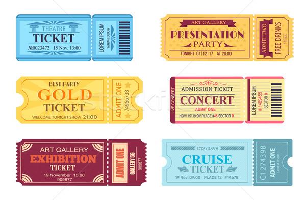 Best partij goud ticket ingesteld bioscoop Stockfoto © robuart