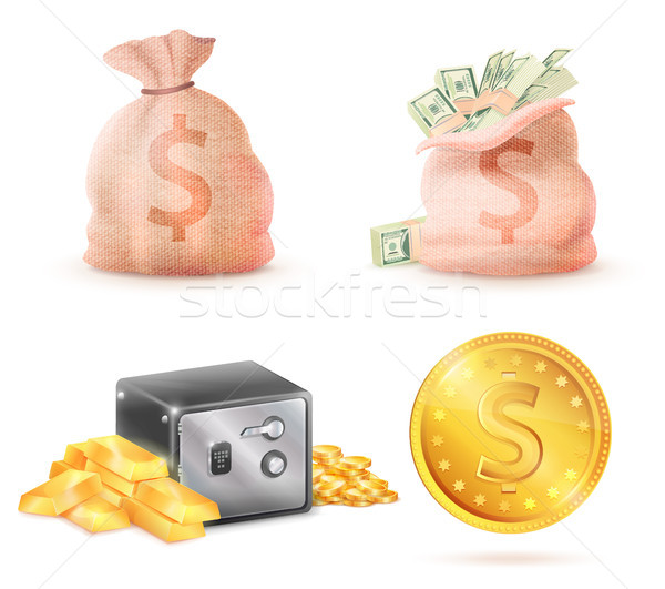 Sack Full of Money, Metal Safe Strongbox and Bag Stock photo © robuart