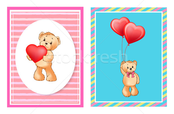 Adorable Bears with Helium Balloons in Heart Shape Stock photo © robuart