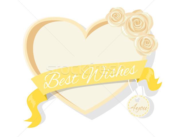 Best Wishes Frame Rose Flowers, Heart Shape Border Stock photo © robuart
