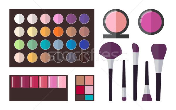 Gyűjtemény poszter paletta színek szett kozmetika Stock fotó © robuart