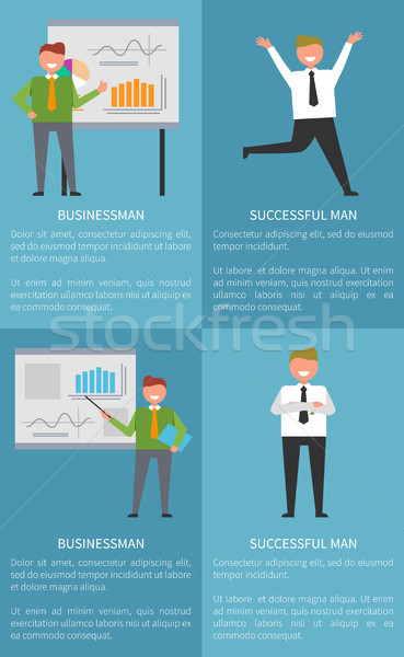 Successful Businessman Set of Banners with Text Stock photo © robuart