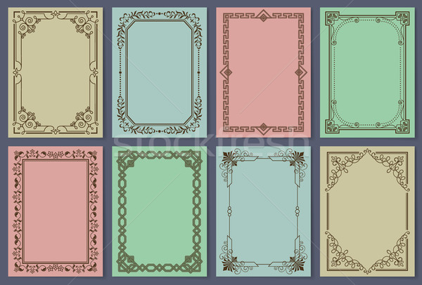Vintage Postcards with Elegant Frames Templates Stock photo © robuart