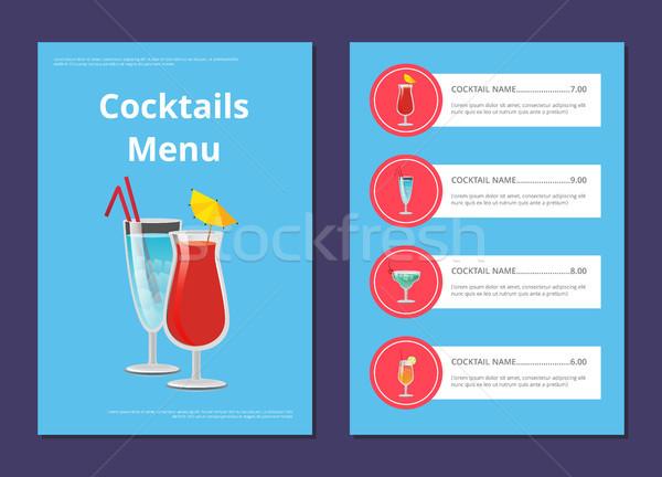 Koktajl menu reklama plakat ceny napojów Zdjęcia stock © robuart