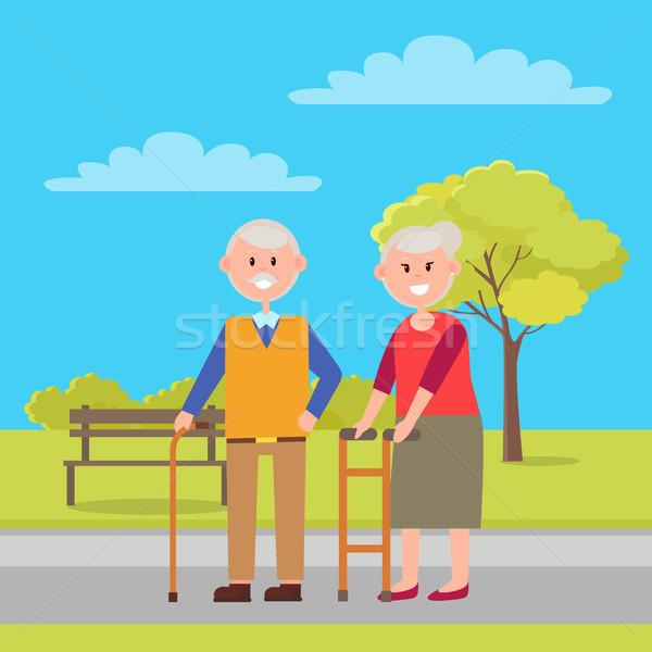 Grandfather and Grandmother Vector Illustration Stock photo © robuart