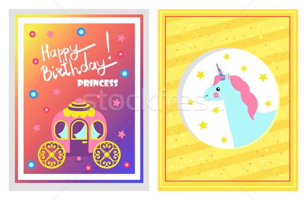 Happy Birthday Unicorn Card Vector Illustration Stock photo © robuart