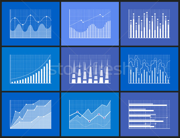 Statistical and Analytical Monochrome Graphics Set Stock photo © robuart