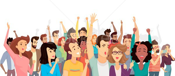 Crowd of Happy People Poster Vector Illustration Stock photo © robuart