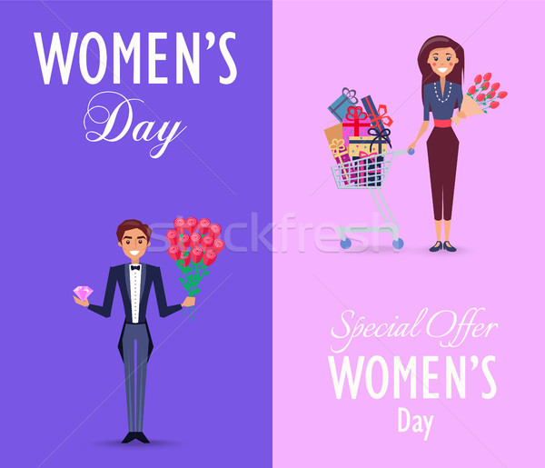 Two Color Cards on Womens Day with Special Offer Stock photo © robuart