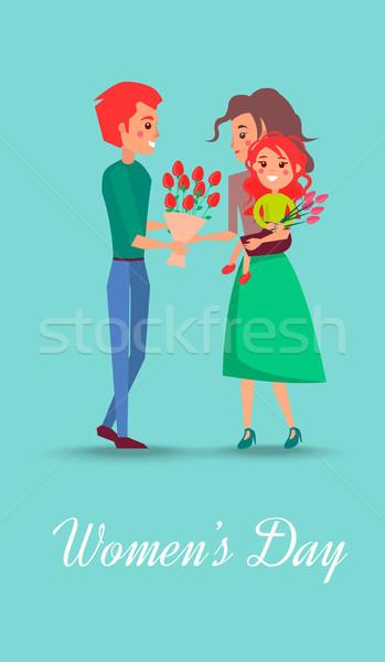 Foto stock: Día · de · la · mujer · postal · familia · feliz · ilustración · padre · esposa