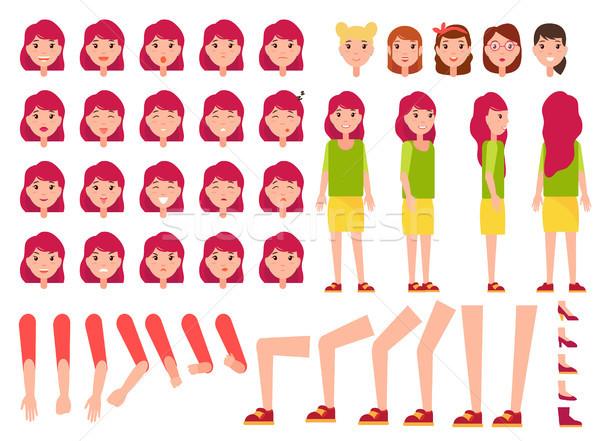 Zdjęcia stock: Kobieta · zestaw · kobiet · twarze · części · ciała · front