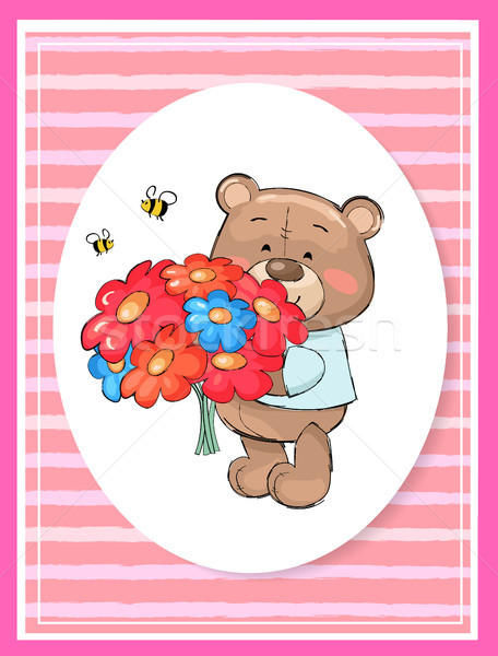 Oyuncak ayı buket renkli çiçekler karikatür pembe Stok fotoğraf © robuart