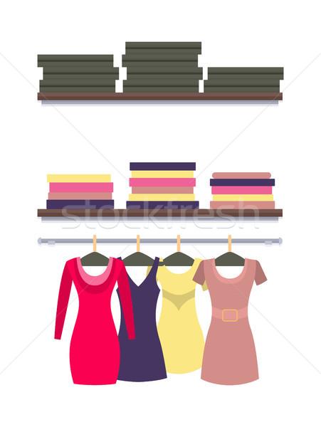 Ruházat dobozok vektor ruhák izolált fehér Stock fotó © robuart