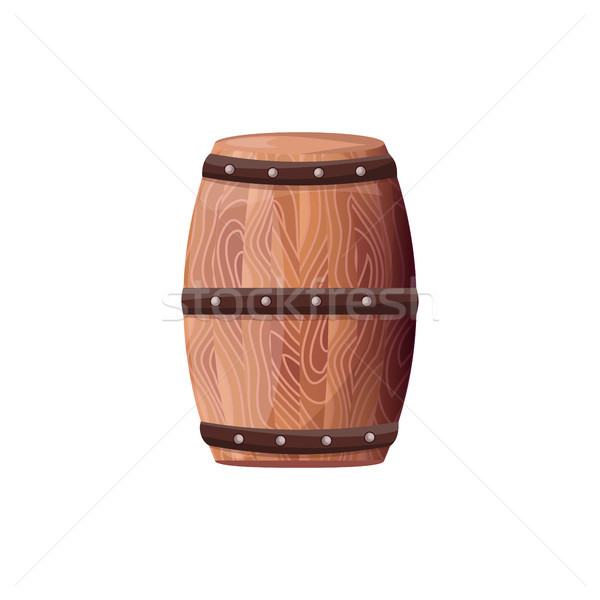 Wooden Barrel with Wine Vector on White Container Stock photo © robuart