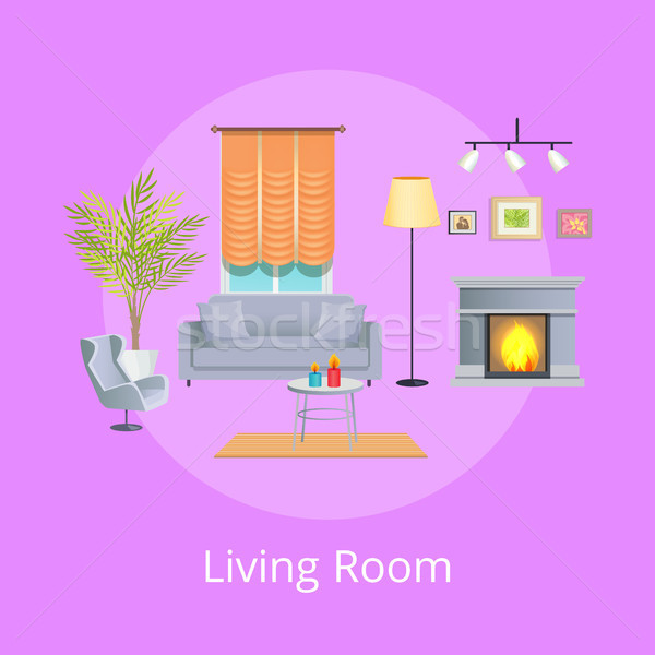 Living Room Interior Isolated on Lilac Backdrop Stock photo © robuart
