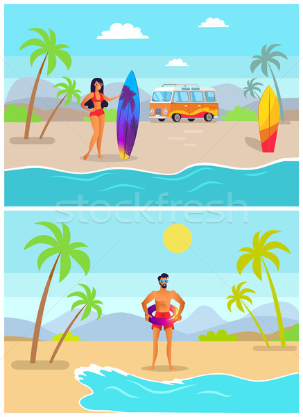 Girl with Surfboard and Guy in Inflatable Ring Stock photo © robuart