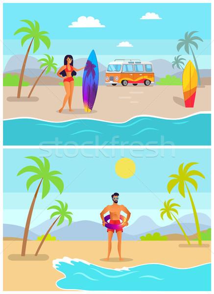 девушки доска для серфинга парень надувной кольца стоять Сток-фото © robuart