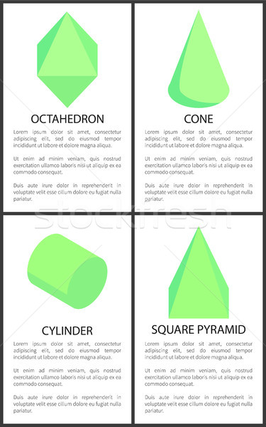 Kegel cilinder vierkante piramide tekst monster Stockfoto © robuart