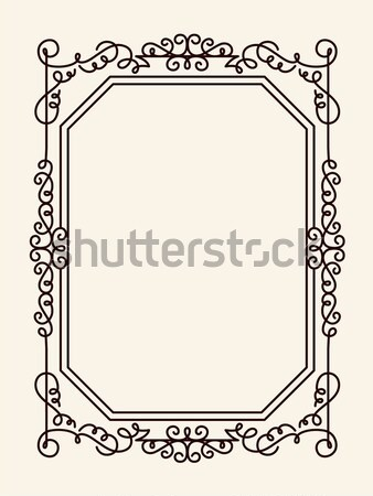 Old Vintage Frame with Cut Angles and Thin Swirls Stock photo © robuart