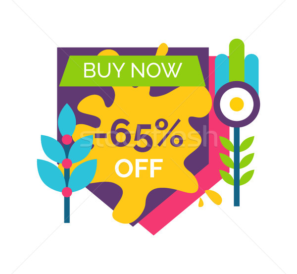 Buy Now 65 Off Sale Sticker Label with Branches Stock photo © robuart